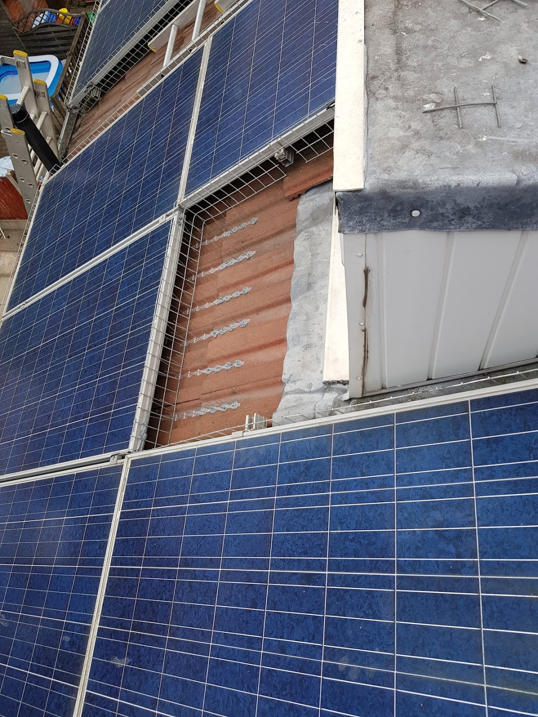 Solar panels after bird proofing installation