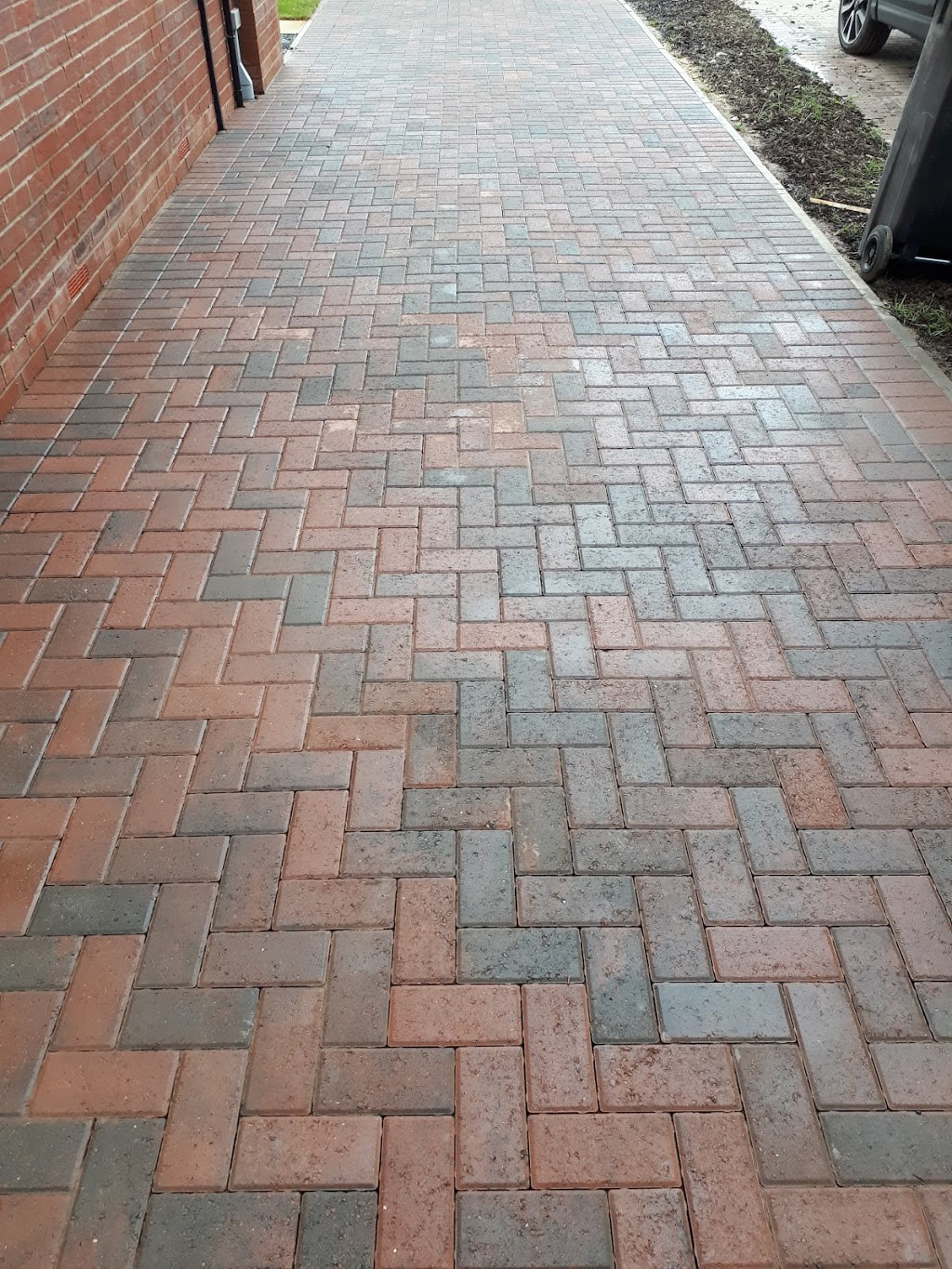 Block paving after being professionally cleaned and sealed